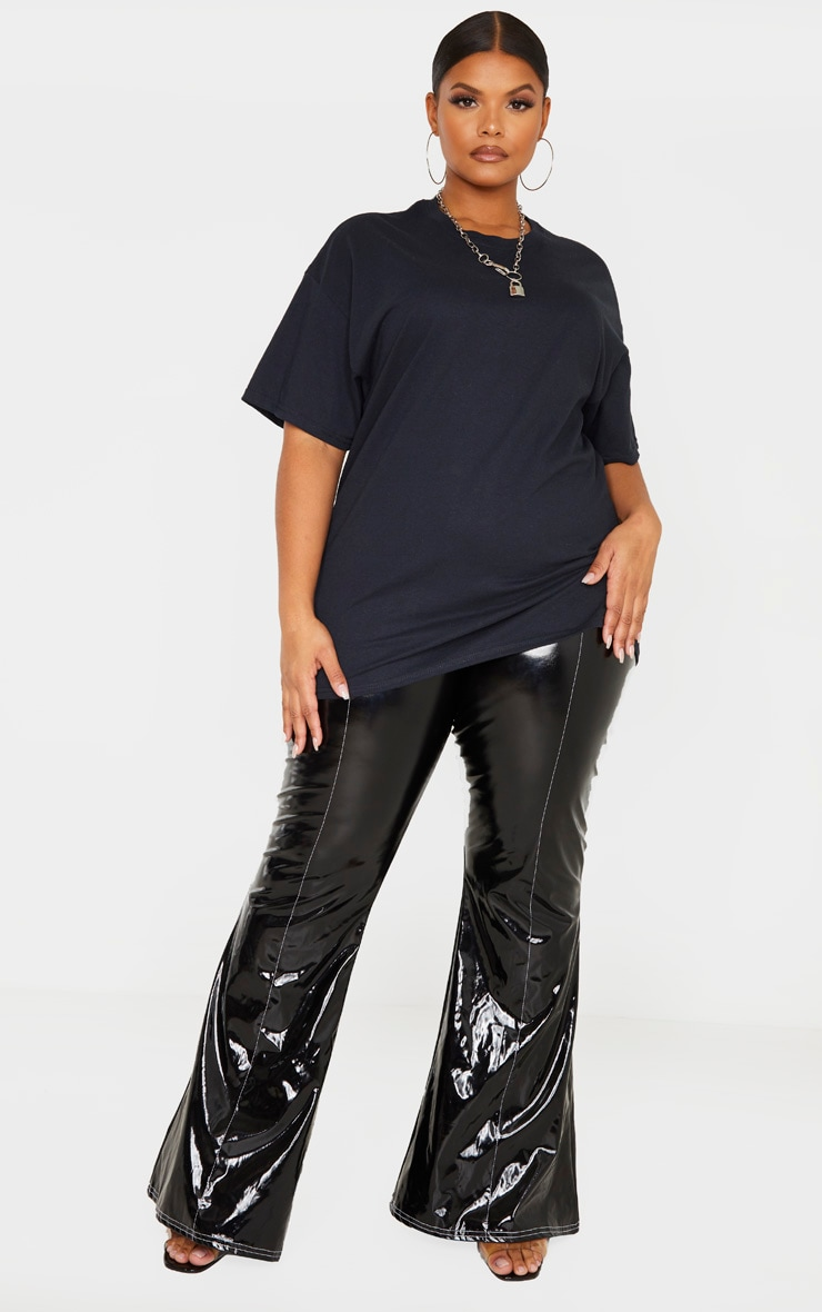 Plus Black Oversized Basic Bitch Slogan T Shirt 4