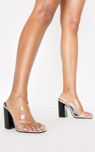Snake Square Toe Block Heel Clear Mule