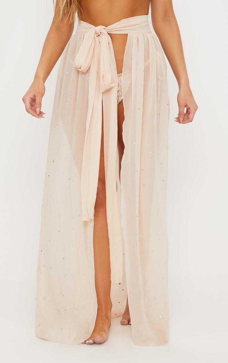 Premium - Jupe longue nude à strass 3