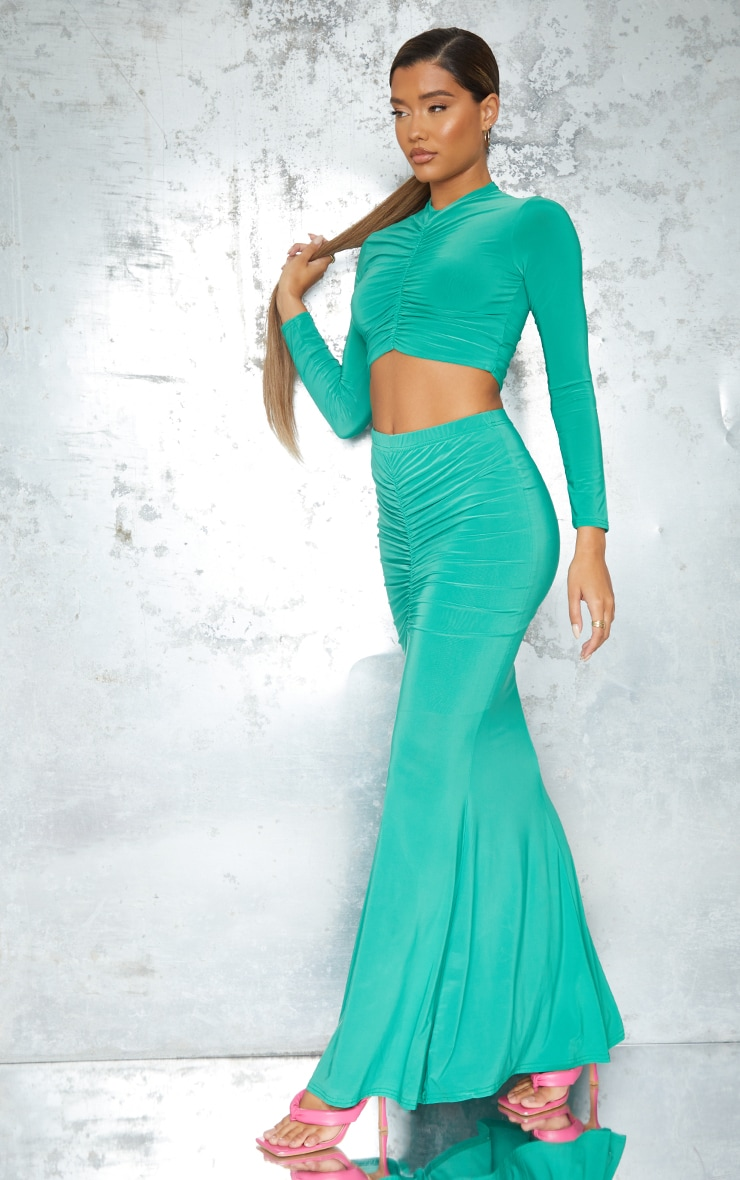 Bright Green Slinky High Neck Ruched Front Dip Hem Crop Long Sleeve Crop Top 3