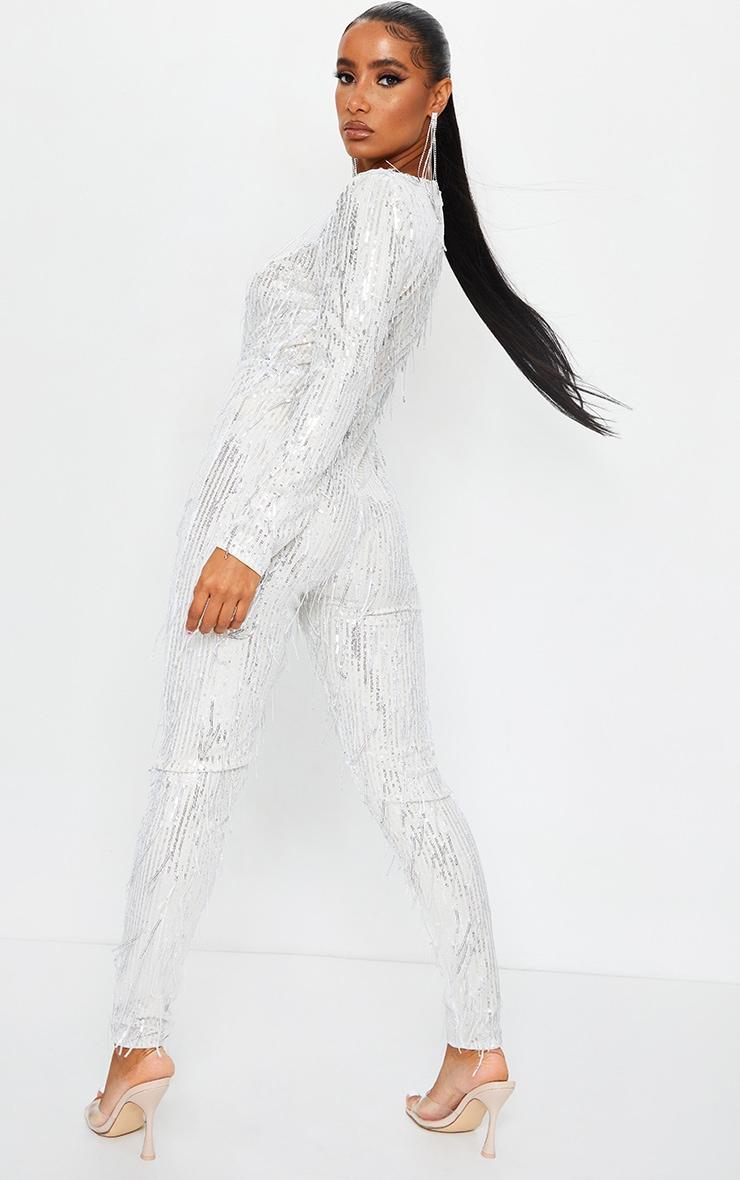 Silver Premium Tassel Sequin Plunge Shoulder Pad Jumpsuit 2
