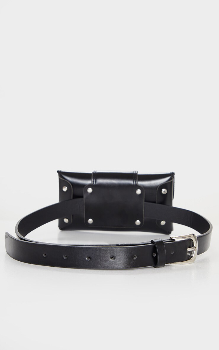Black PU Chain Detail Belt Bag 3