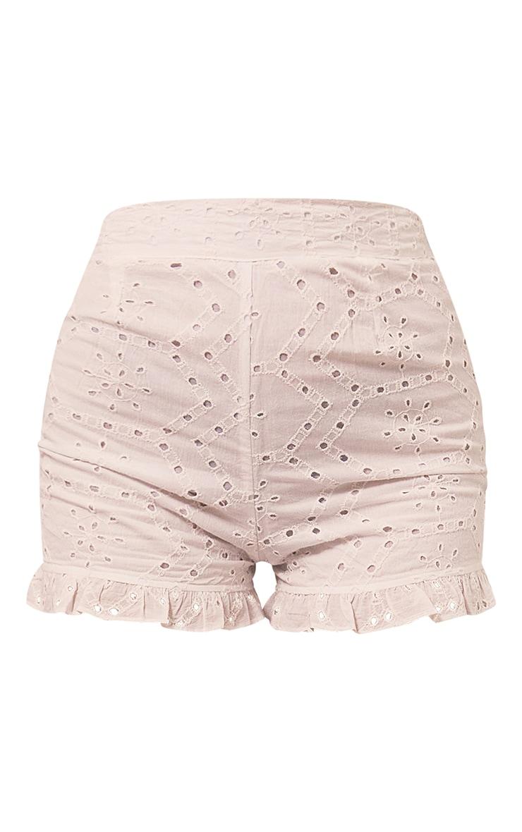 White Broderie Anglaise Frill Hem Shorts 6