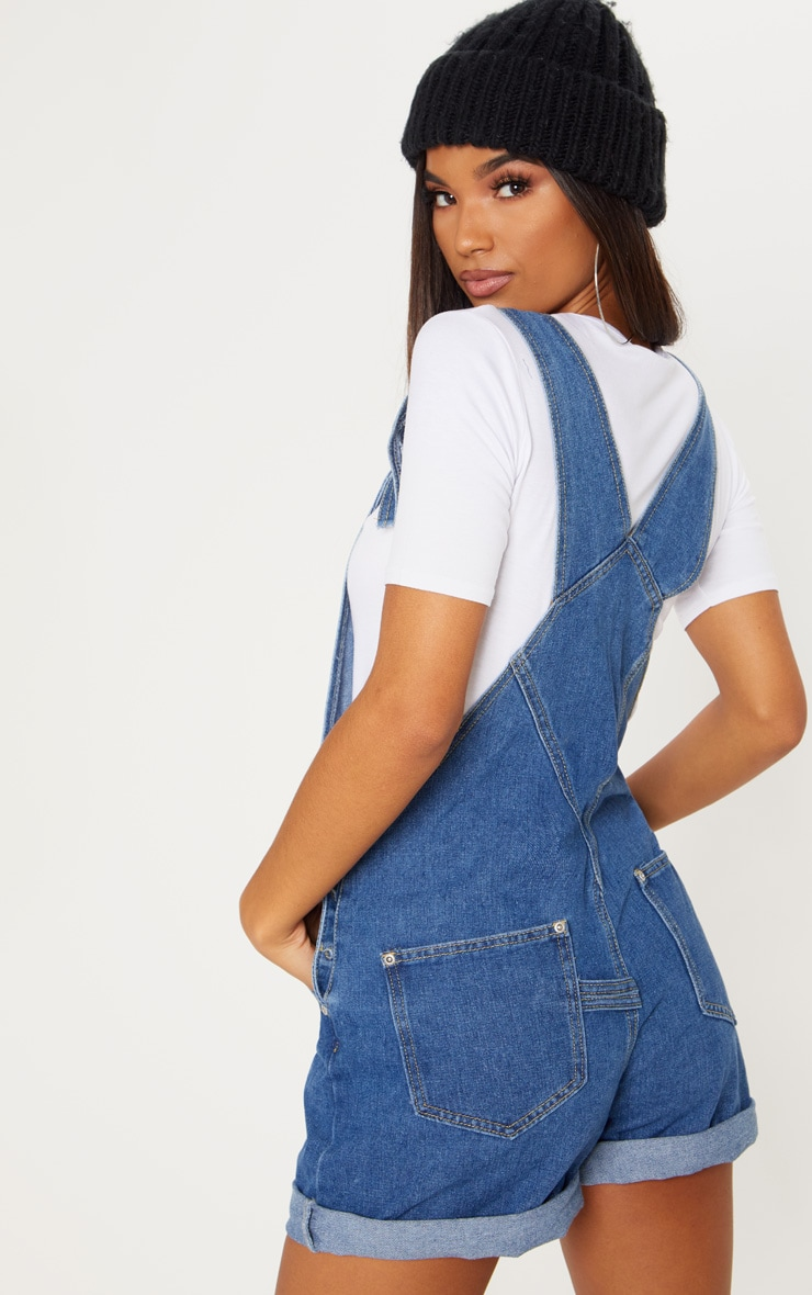 Mid Wash Short Dungaree 2