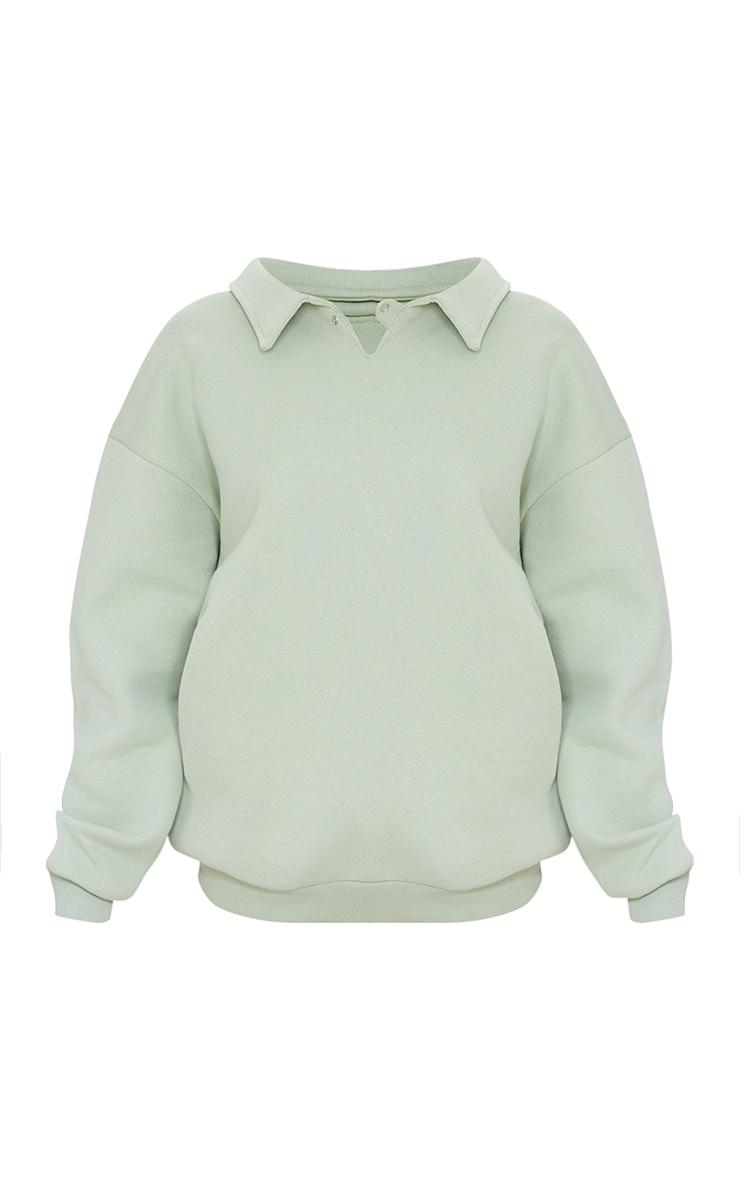 Sage Green Fleece Collar Oversized Sweat 5