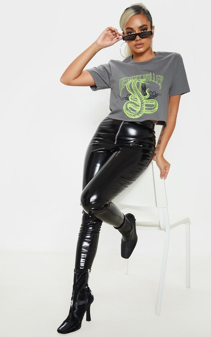 Petite Grey Snake Crop T-Shirt 4