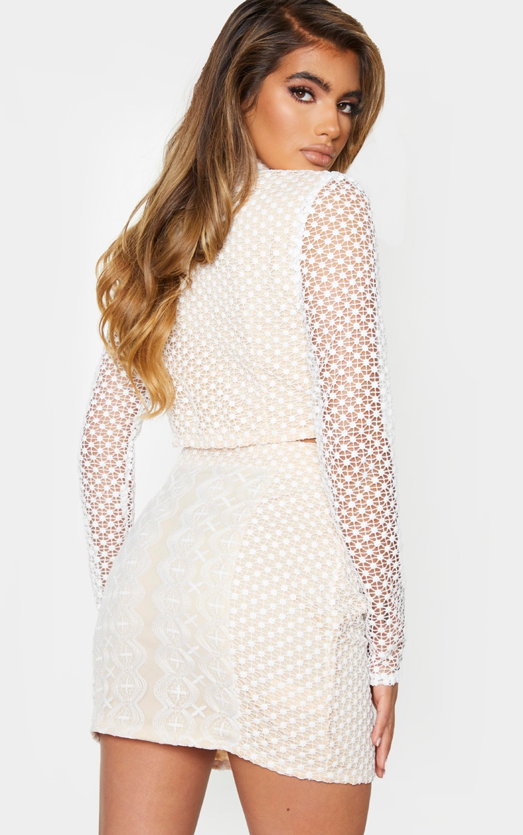 White Crochet High Neck Long Sleeve Crop Top 2