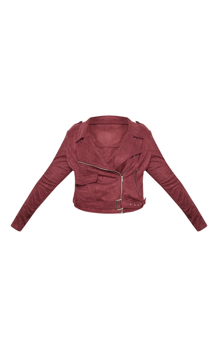 PLT Plus - Veste biker en imitation daim bordeaux 3