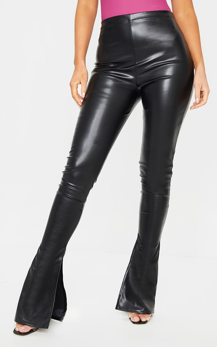 Black Kick Flare Faux Leather Leggings 2