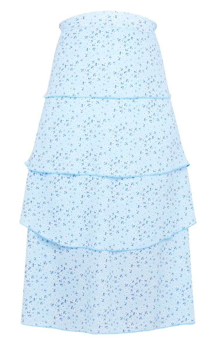 Baby Blue Ditsy Floral Tiered Midi Skirt 5