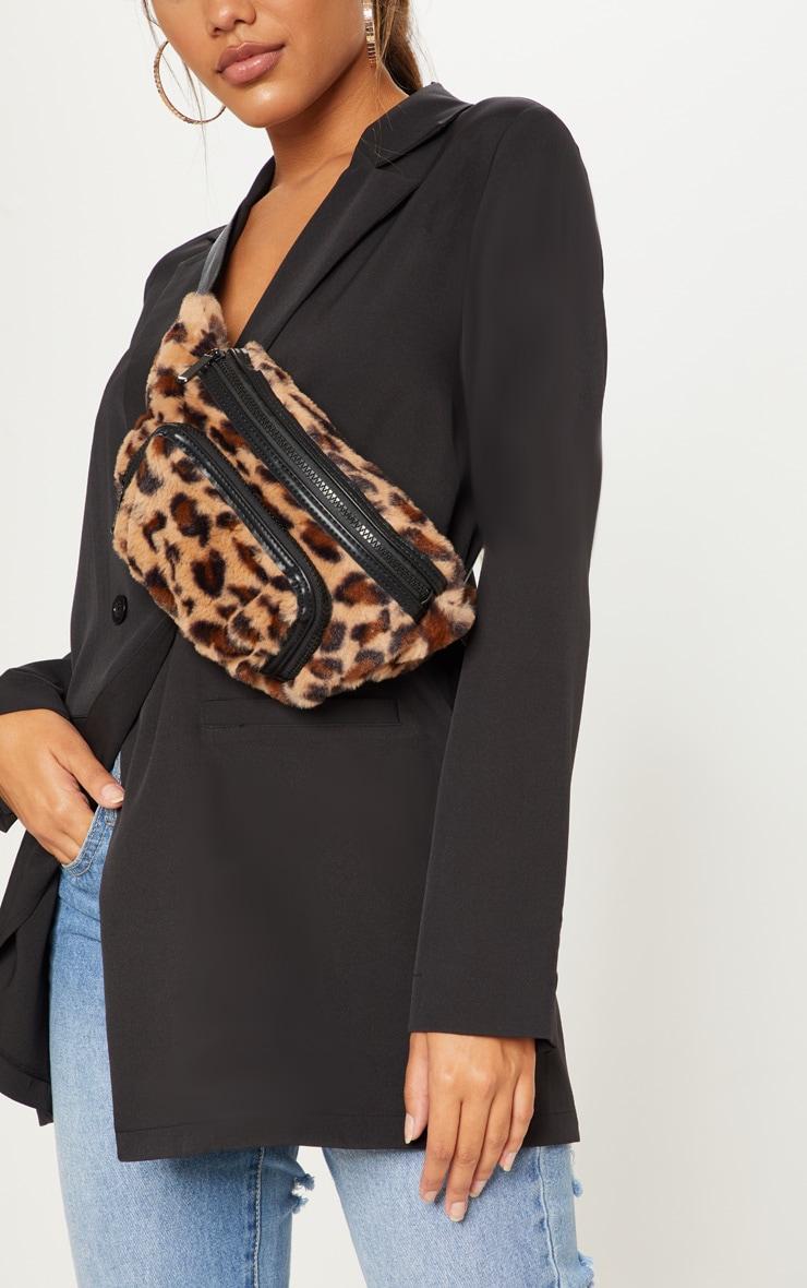 Brown Leopard Faux Fur Bum Bag