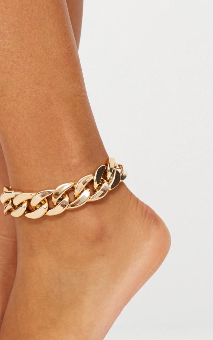 Grosse chaîne de cheville dorée 2