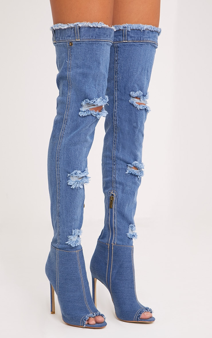 Emelie Mid Wash Ripped Denim Peep Toe Thigh Boots  1