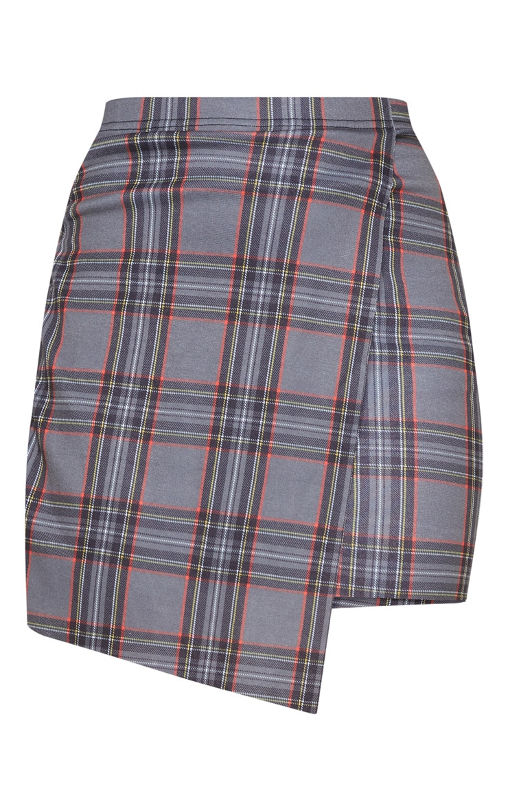 Grey Check Wrap Front Mini Skirt 3