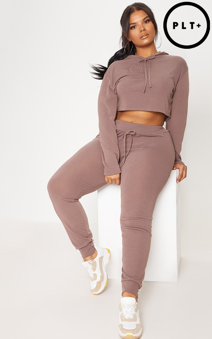 Plus Chocolate Knitted Joggers