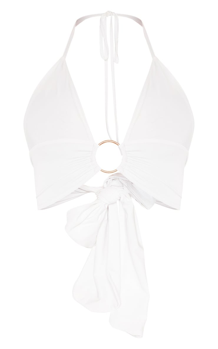 White Plunge Ring Detail Bralet 3