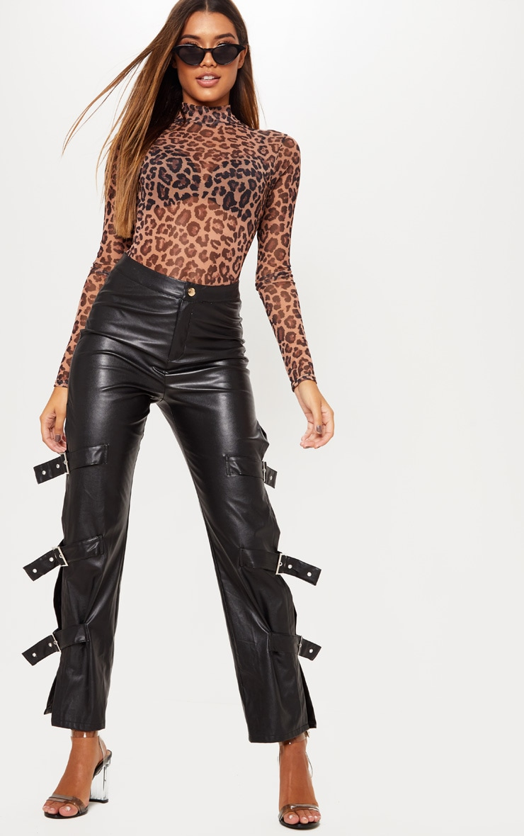 Brown Leopard Printed Mesh High Neck Bodysuit 6