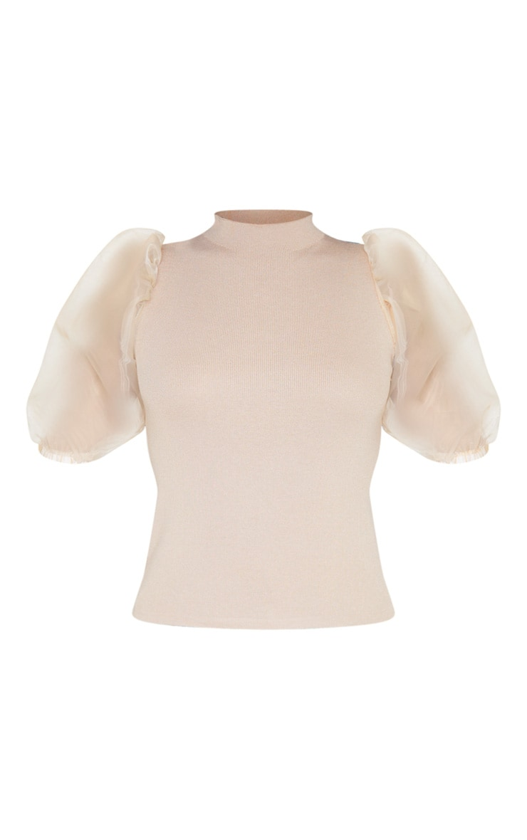 Stone Organza Puff Sleeve Knitted Top 4