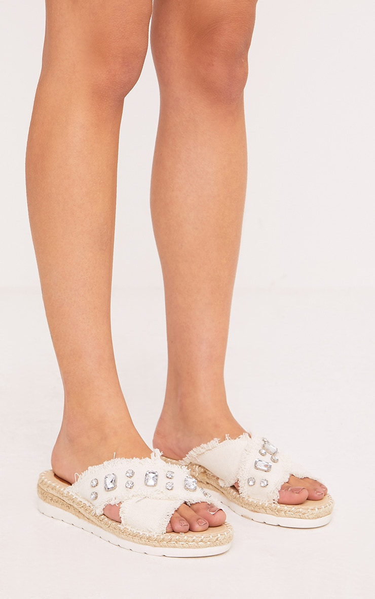 Bette White Jewelled Denim Sliders 1
