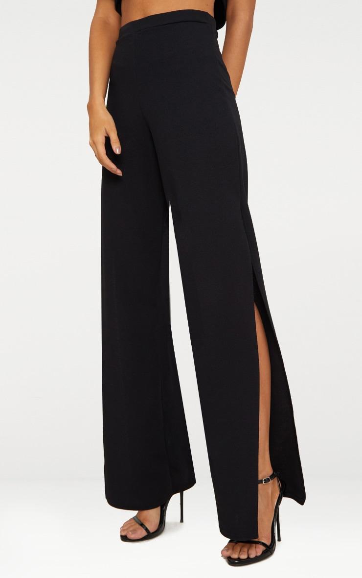 Black Split Detail Wide Leg Trousers 2