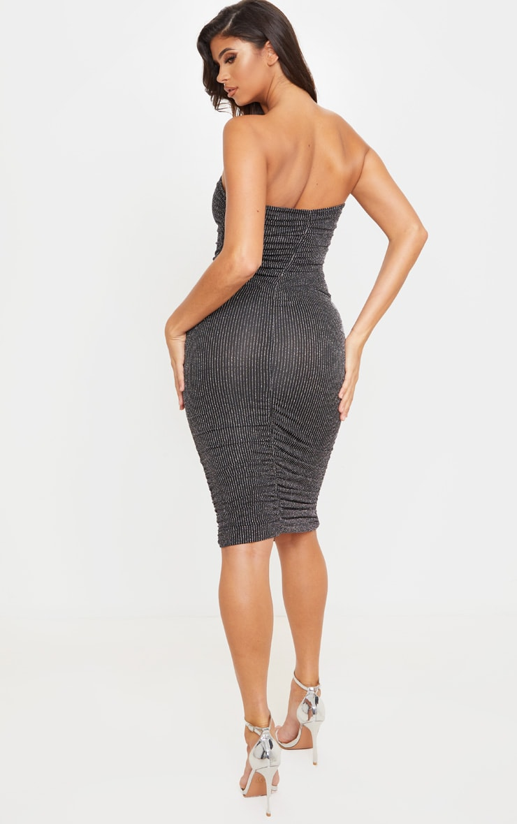 Silver Glitter Stripe Ruched Bandeau Bodycon Dress 2
