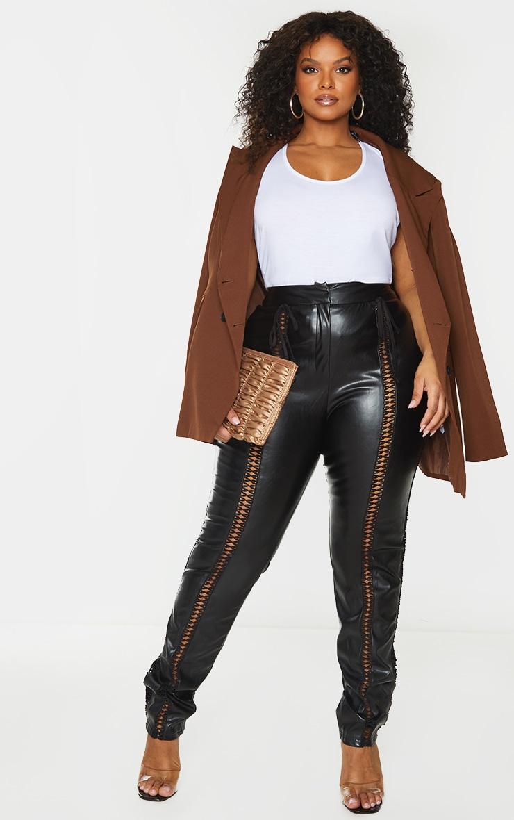 Plus Black PU Lace Up Detail Pant 1