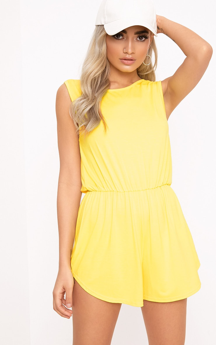 Braylee Yellow Basic Black Playsuit  2