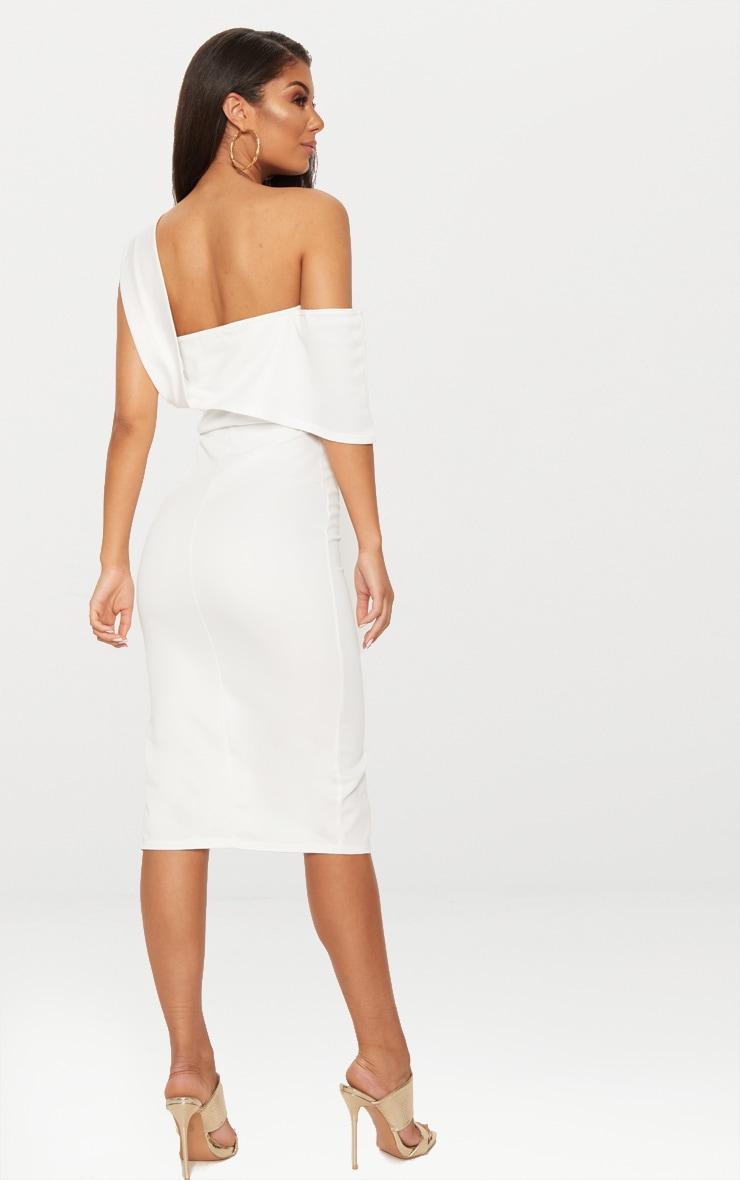 White Asymmetric Strap Split Detail Midi Dress  2