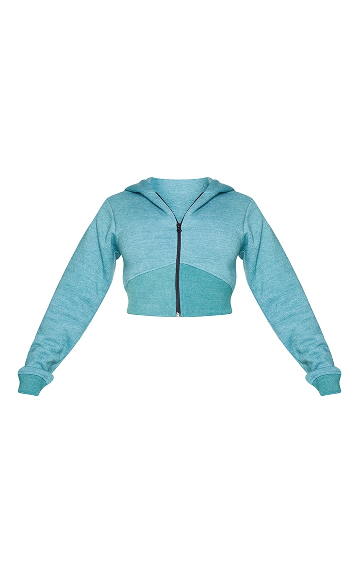 Shape Teal Washed Zip Rib Detail Cropped Hoodie 5