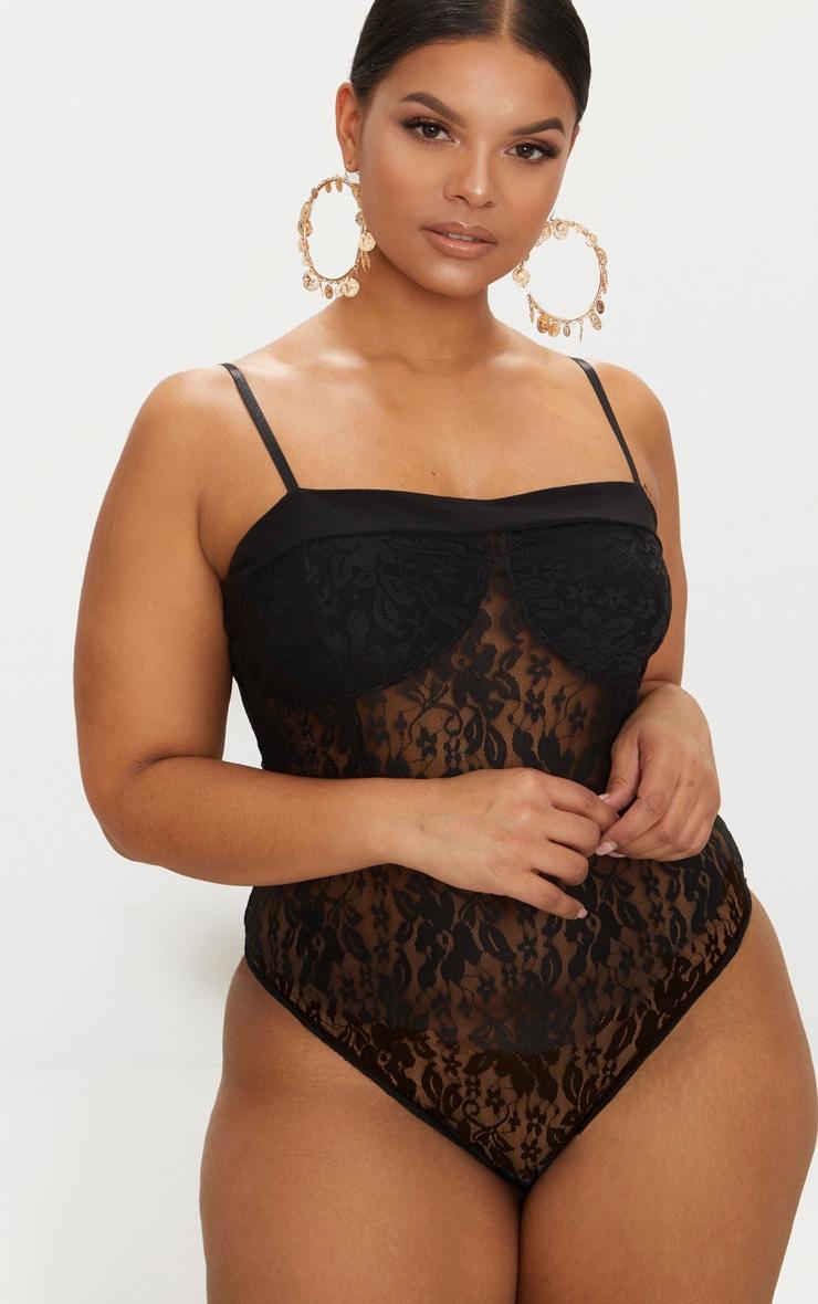 Plus Black Second Skin Lace Square Neck Thong Bodysuit  2