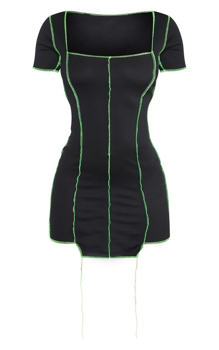 Black Rib Overlocked Bodycon Dress 5