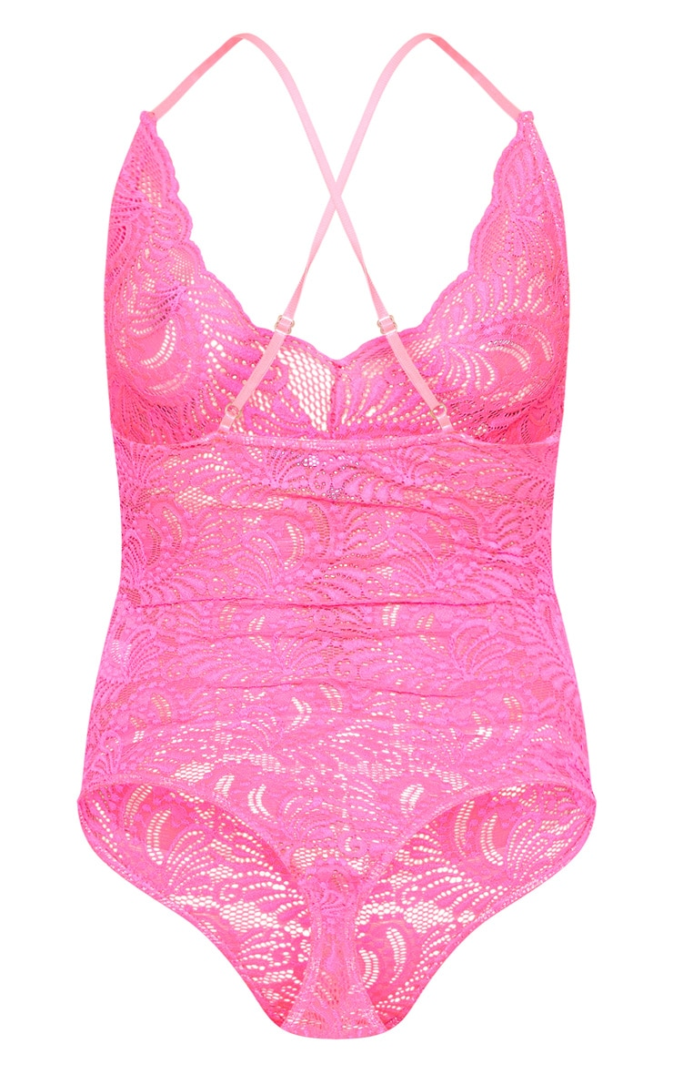 Neon Pink Lace Cross Back Bodysuit 4