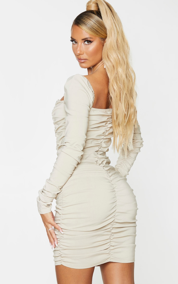 Nude Woven Stretch Extreme Ruched Bodycon Dress 2
