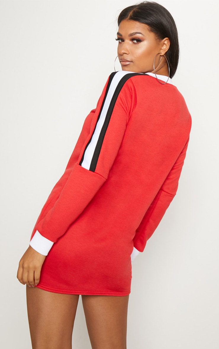 Red Sport Stripe Long Sleeve Jumper Dress 2