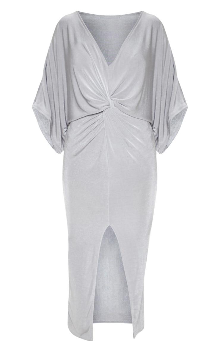 Robe midi moulante manches kimono torsadée devant gris glace 3