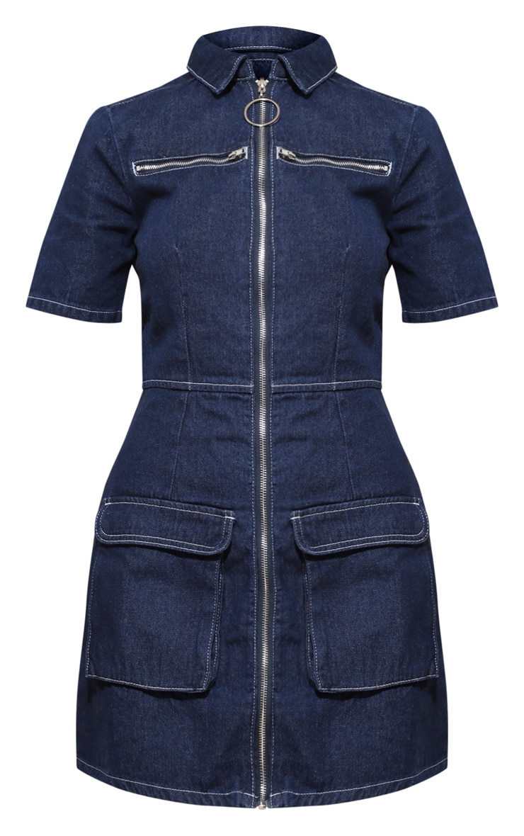 Mid Wash Zip Detail Denim Bodycon Dress 4