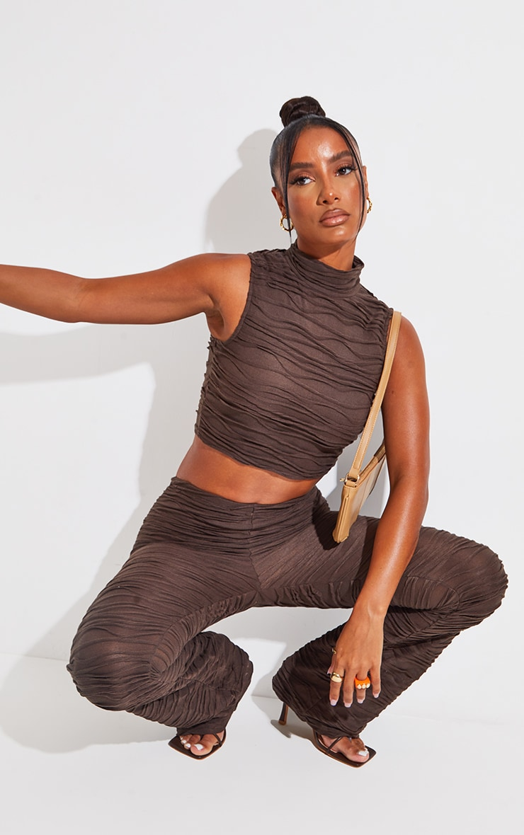 Brown Pleated Jersey High Neck Sleeveless Crop Top 1
