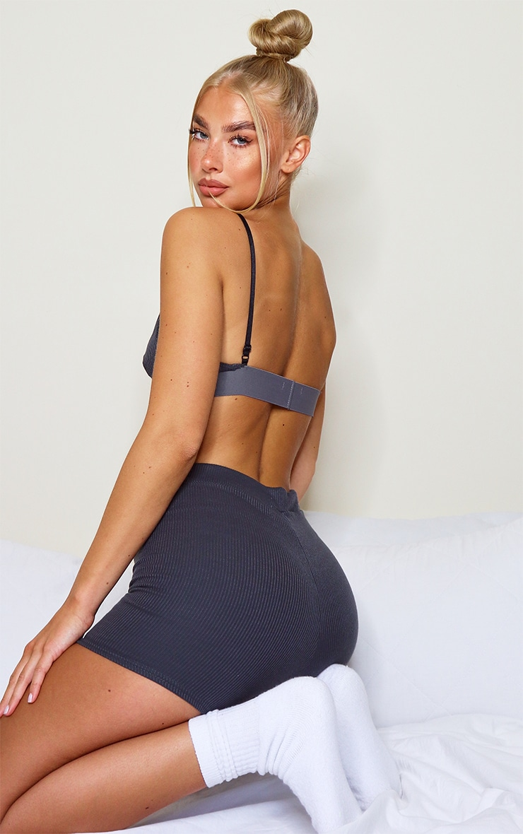 Charcoal Grey Ribbed Plunge Bralet 2