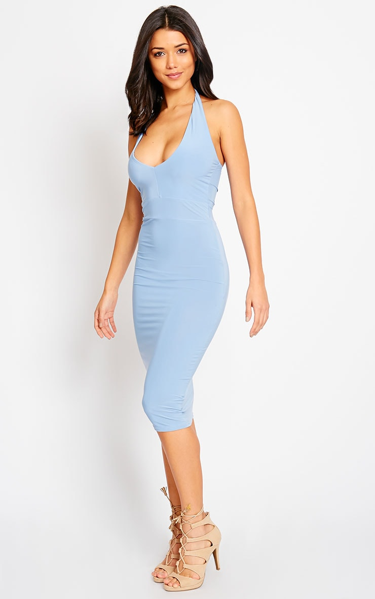 Lilly Powder Blue Slinky Halterneck Midi Dress 4
