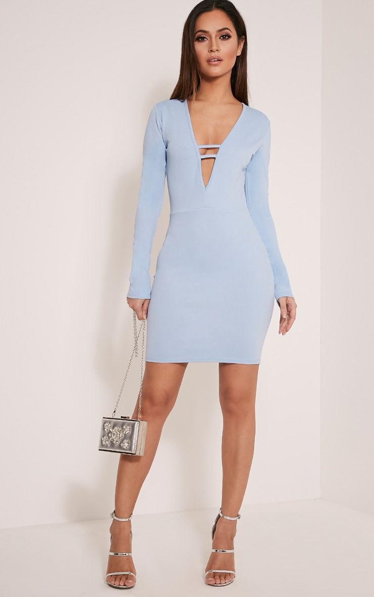 Arya Dusty Blue Strap Detail Plunge Bodycon Dress 5
