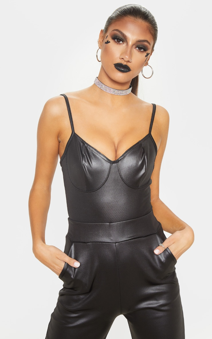 Tall Black Cup Detail PU Bodysuit 1