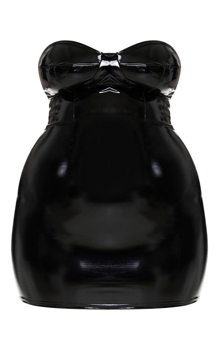 Plus Black Vinyl Cup Detail Bodycon Dress 6