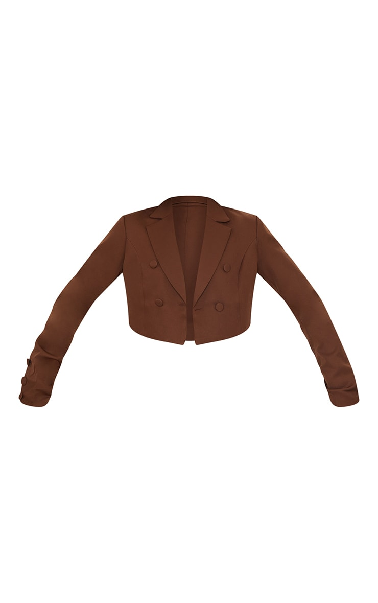 Chocolate Cropped Double Button Blazer 5