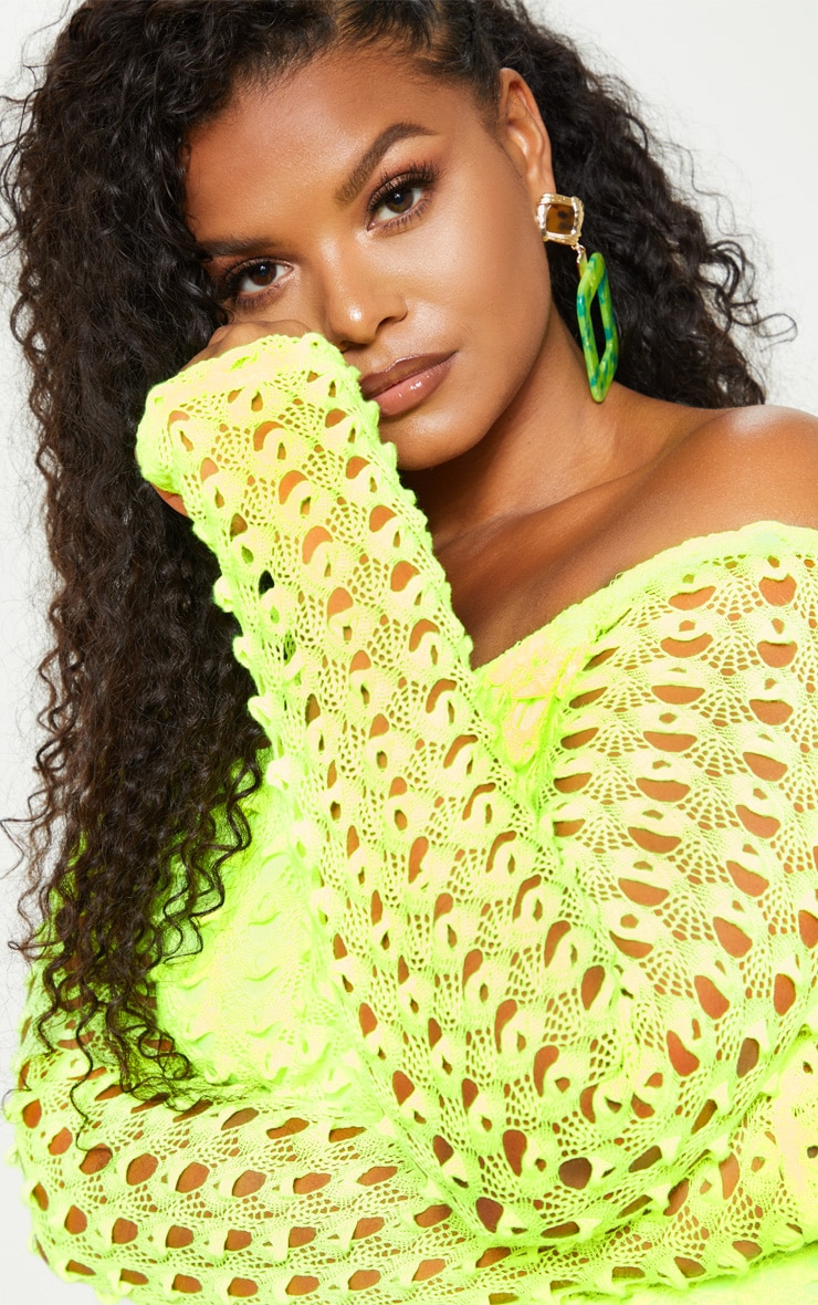 Plus Neon Yellow Crochet Bardot Bodycon Dress 5