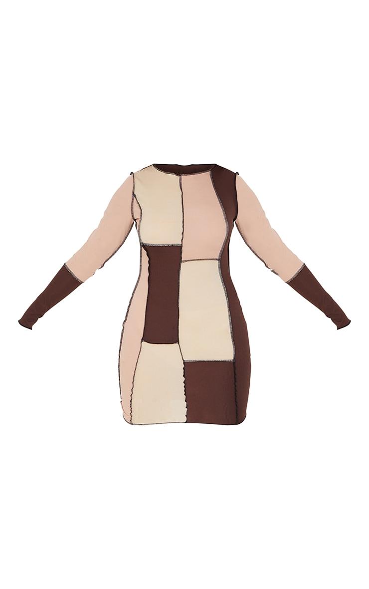 Brown Patchwork Overlock Stitch Detail Long Sleeve Bodycon Dress 5