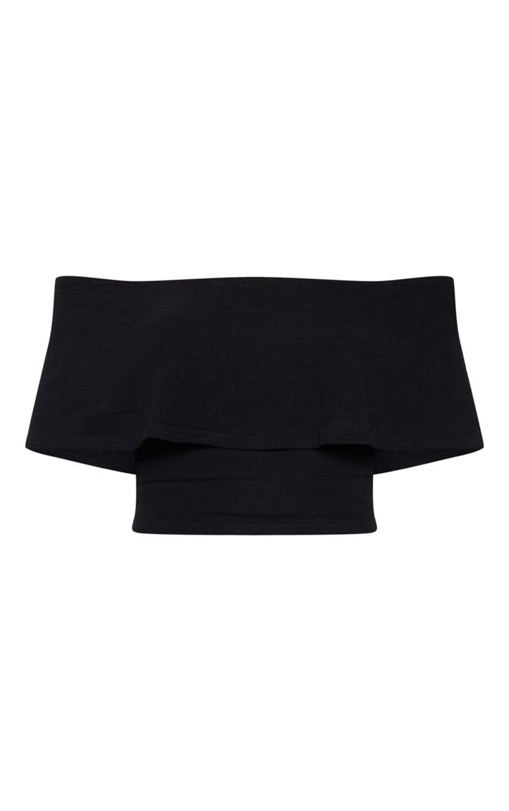 Black Rib Bardot Frill Crop Top 3