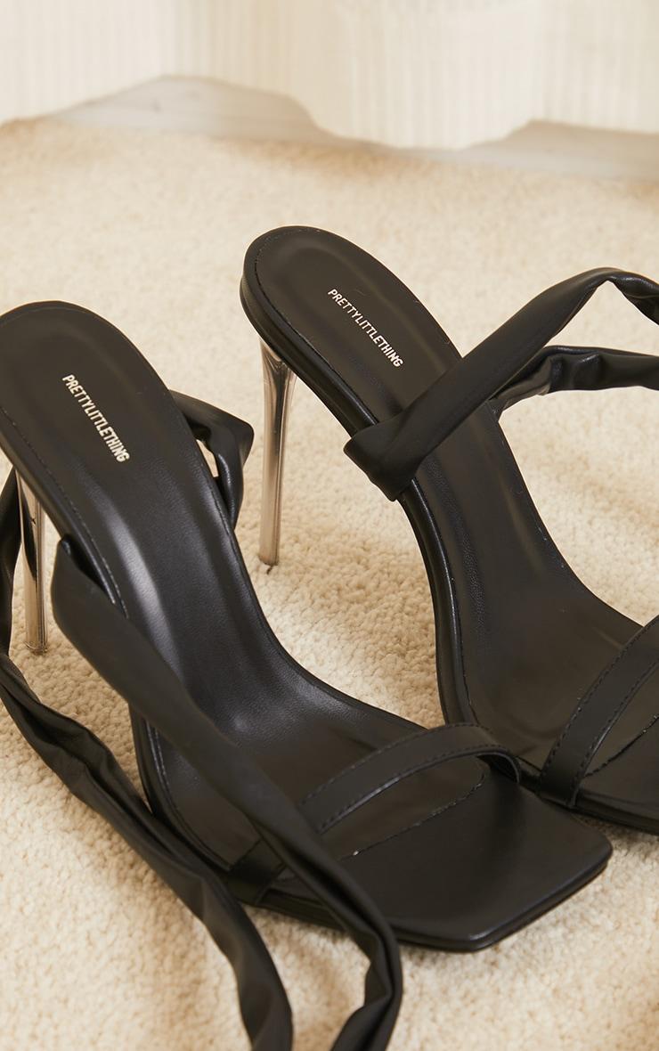 Black Pu Chunky Lace Up Clear High Heels 4