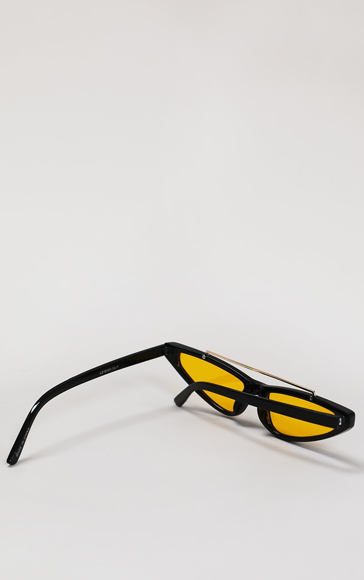 Black Cat Eye Yellow Lens Sunglasses 3