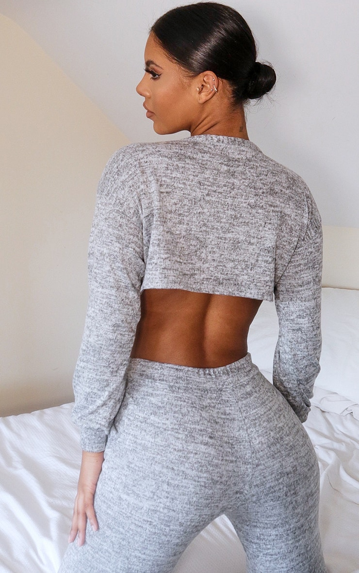 Grey Crop Brushed Knitted Lounge Set 2
