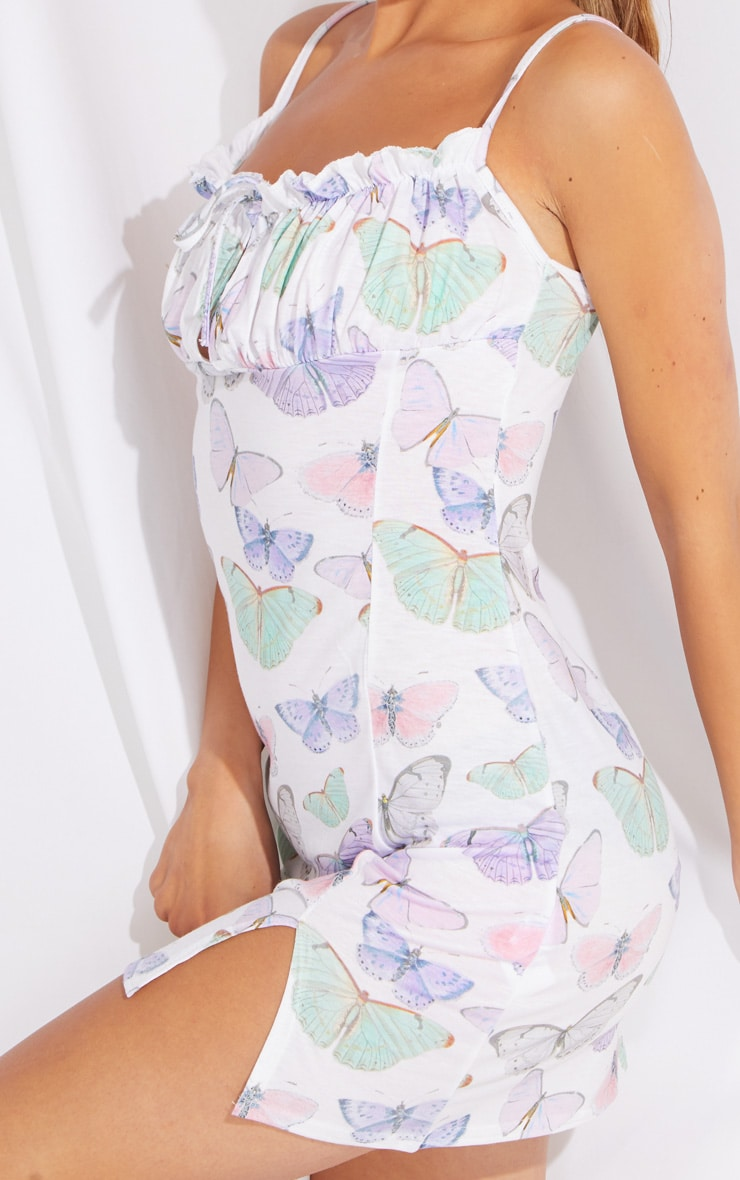 Petite White Butterfly Print Tie Bust Strappy Split Front Shift Dress 4